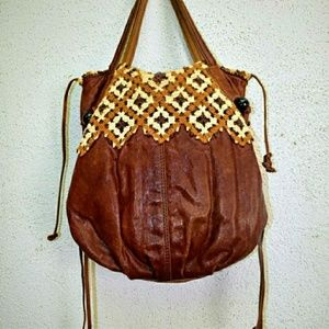 Vintage buttersoft leather tote with crochet detai